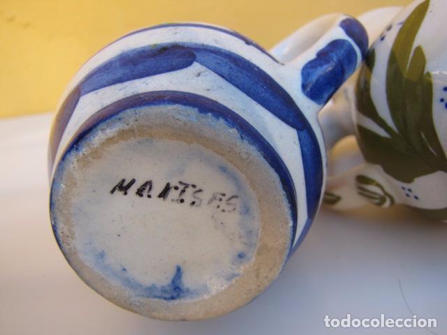 Antigüedades: Colección de 9 antiguas jarritas de cerámica: Talavera, Manises y Teruel - Foto 8 - 103996659