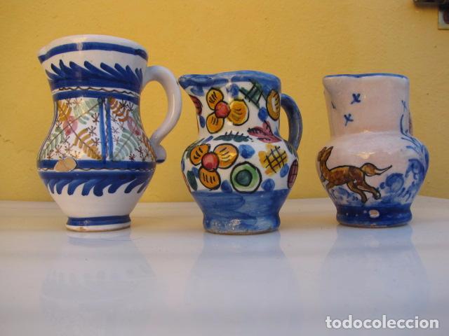 Antigüedades: Colección de 9 antiguas jarritas de cerámica: Talavera, Manises y Teruel - Foto 10 - 103996659