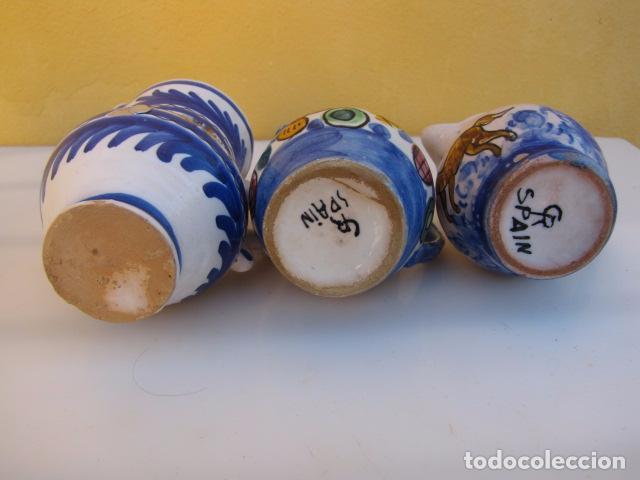 Antigüedades: Colección de 9 antiguas jarritas de cerámica: Talavera, Manises y Teruel - Foto 12 - 103996659