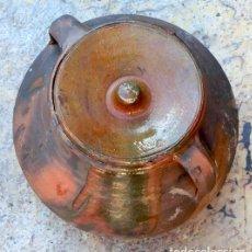 Antigüedades: PRECIOSA OLLA DE BARRO - ORZA CON DOBLE ASA - DOS TAPAS - TINAJA SEMI ESMALTADA - VIEJO PUCHERO. Lote 103999139