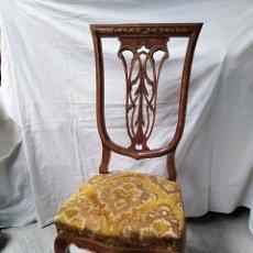 Antigüedades: SILLERIA DE SEIS SILLAS DE MADERA TALLADA A MANO, PARECE CAOBA, ESTILO CHIPENDALE, PARA RESTAURACION. Lote 104014387