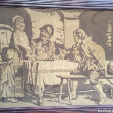 Antigüedades: TAPIZ CON MARCO DE EPOCA. Lote 104016560