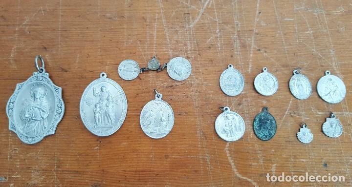 LOTE 14 MEDALLAS RELIGIOSAS ANTIGUAS. DIFERENTES MEDIDAS Y ÉPOCAS. TOP!!!! MEDALLAS DE COLECCIÓN. (Antigüedades - Religiosas - Medallas Antiguas)