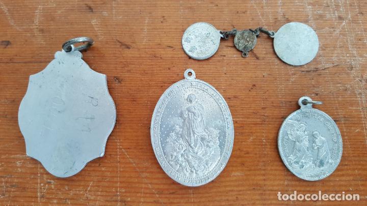 Antigüedades: Lote 14 medallas religiosas antiguas. Diferentes medidas y épocas. TOP!!!! Medallas de colección. - Foto 4 - 104031651
