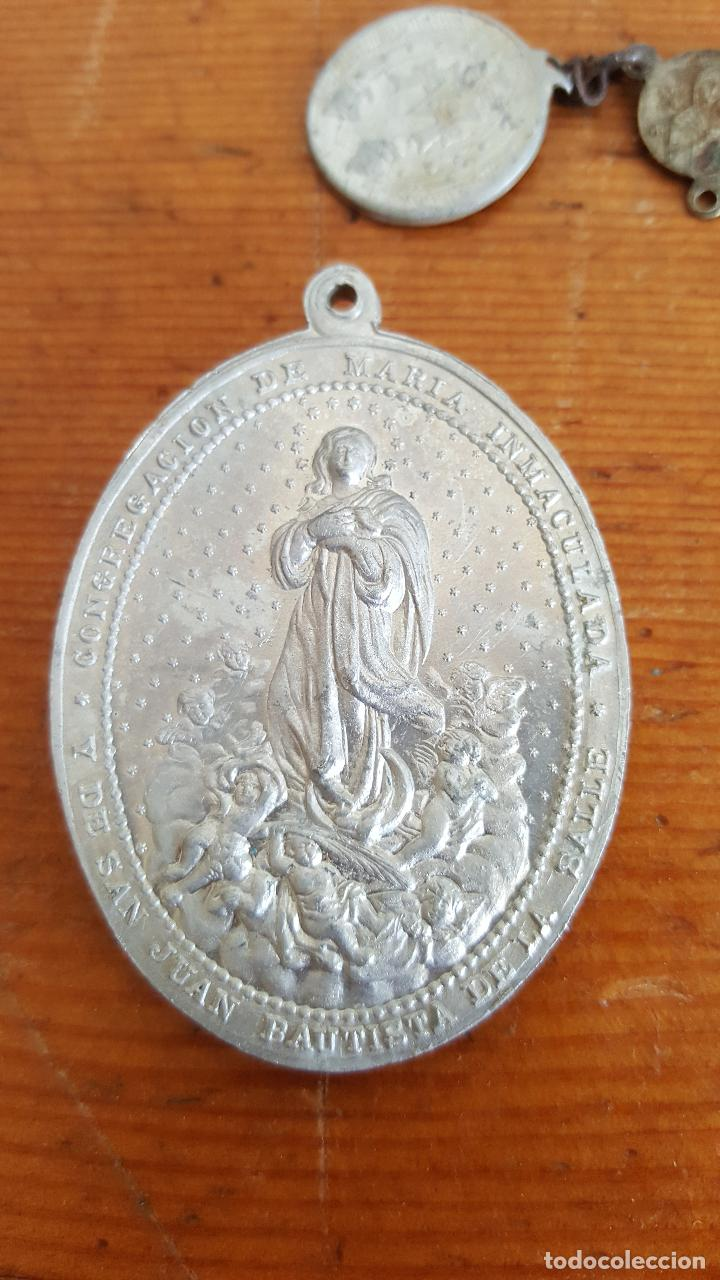 Antigüedades: Lote 14 medallas religiosas antiguas. Diferentes medidas y épocas. TOP!!!! Medallas de colección. - Foto 9 - 104031651