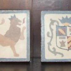 Antigüedades: ANTIGUAS ALAMBRILAS 14 X 15 CM O AZULEJO - PINTADAS A MANO: ESCUDO, LEON.... Lote 104036763