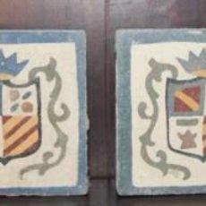 Antigüedades: ANTIGUAS ALAMBRILAS - OLAMBRILLA BALDOSA BALDOSIN AZULEJO DECORATIVO ESCUDO PINTADO A MANO. Lote 104038111
