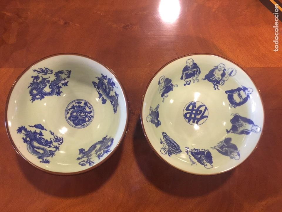 PAREJA DE CUENCOS DE PORCELANA CHINA. (Antigüedades - Porcelanas y Cerámicas - China)