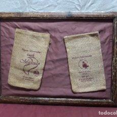 Antigüedades: MARCO CON 2 SACOS CAFE MUSSULO. DELTA. DE ARPILLERA.... Lote 104055327