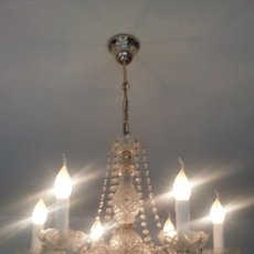 Antigüedades: LAMPARA ANTIGUA DE CRISTAL TALLADO EPOCA ISABELINA ORIGINAL DE 6 BRAZOS. Lote 112821439
