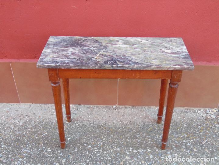 Peque a mesa auxiliar de madera y marmol comprar mesas antiguas en todocoleccion 104073567 - Mesas auxiliares pequenas ...
