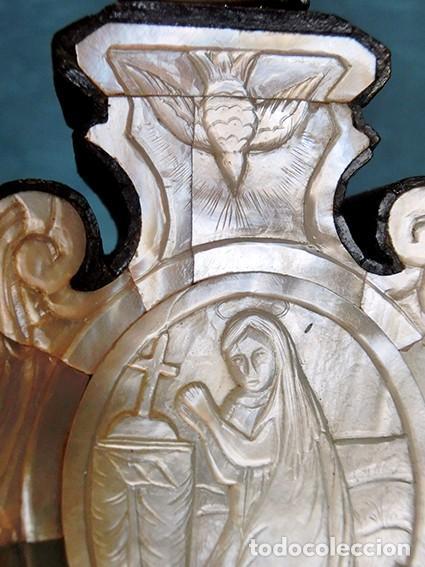 Antigüedades: PRECIOSO CRUCIFIJO ANTIGUO - NÁCAR Y MADERA - STA. MARÍA MAGDALENA - CRUZ RELIGIOSA - CRISTO - Foto 6 - 104080215