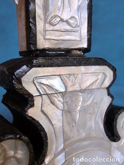 Antigüedades: PRECIOSO CRUCIFIJO ANTIGUO - NÁCAR Y MADERA - STA. MARÍA MAGDALENA - CRUZ RELIGIOSA - CRISTO - Foto 12 - 104080215