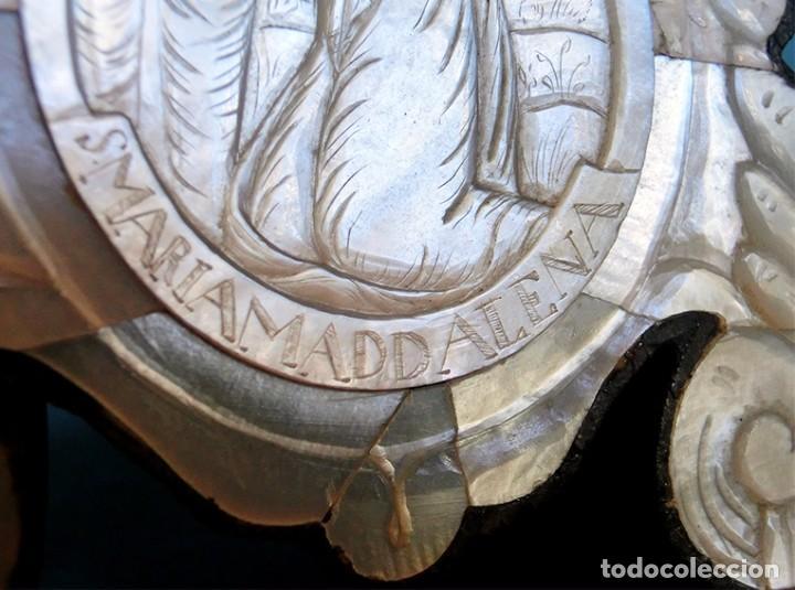 Antigüedades: PRECIOSO CRUCIFIJO ANTIGUO - NÁCAR Y MADERA - STA. MARÍA MAGDALENA - CRUZ RELIGIOSA - CRISTO - Foto 14 - 104080215