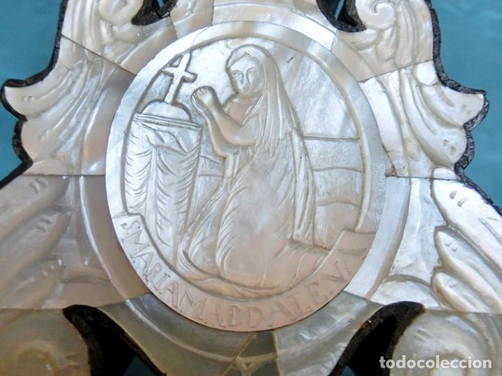 Antigüedades: PRECIOSO CRUCIFIJO ANTIGUO - NÁCAR Y MADERA - STA. MARÍA MAGDALENA - CRUZ RELIGIOSA - CRISTO - Foto 34 - 104080215
