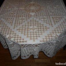 Antigüedades: MANTEL HILO BORDADO DE TENERIFE MEDIDAS COLCHA 2.10CM X 1,80 APROX AÑOS 60 DE 2 3 PIEZAS MANTELERIA. Lote 104088963