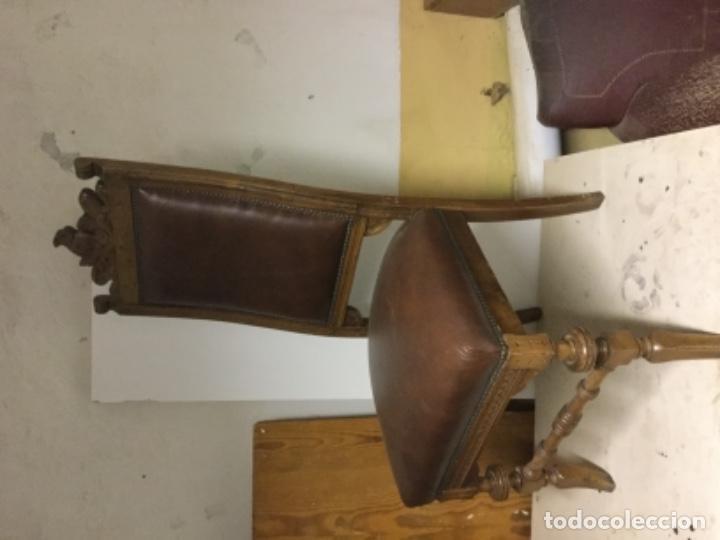 Antigüedades: Silla nogal.Asiento y apoyo piel.Principios siglo xx - Foto 3 - 104098795