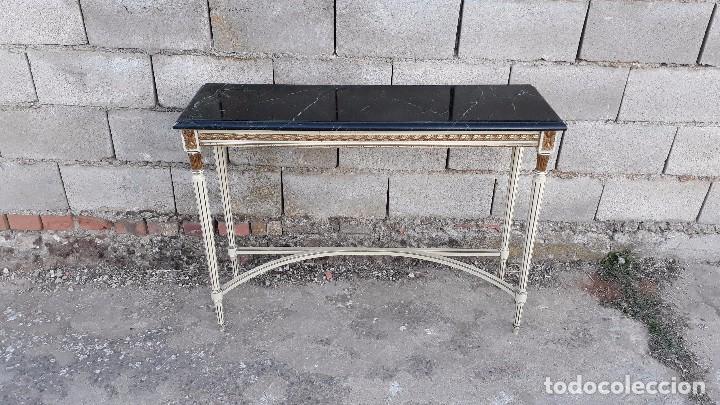 Antigüedades: Consola antigua de mármol estilo Luis XVI, mueble mesa auxiliar antigua estilo francés retro vintage - Foto 2 - 104100627