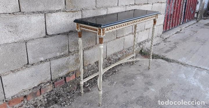 Antigüedades: Consola antigua de mármol estilo Luis XVI, mueble mesa auxiliar antigua estilo francés retro vintage - Foto 4 - 104100627