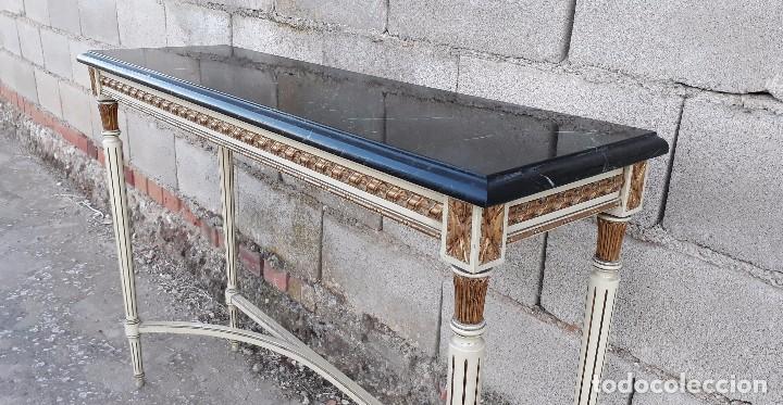 Antigüedades: Consola antigua de mármol estilo Luis XVI, mueble mesa auxiliar antigua estilo francés retro vintage - Foto 5 - 104100627