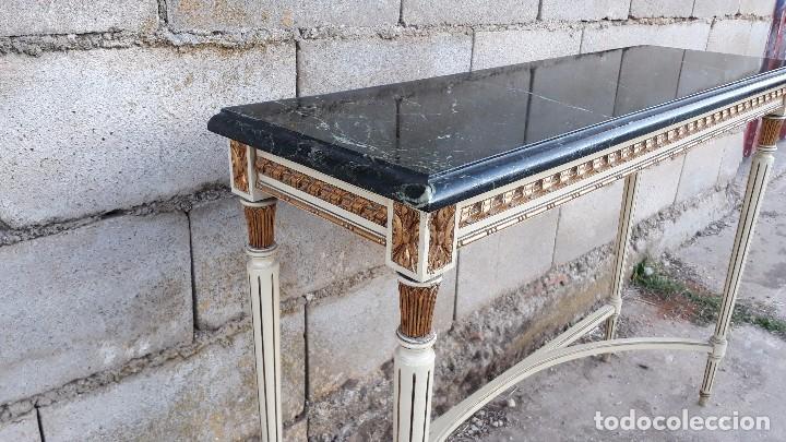 Antigüedades: Consola antigua de mármol estilo Luis XVI, mueble mesa auxiliar antigua estilo francés retro vintage - Foto 7 - 104100627
