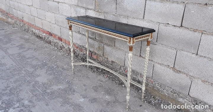 Antigüedades: Consola antigua de mármol estilo Luis XVI, mueble mesa auxiliar antigua estilo francés retro vintage - Foto 8 - 104100627