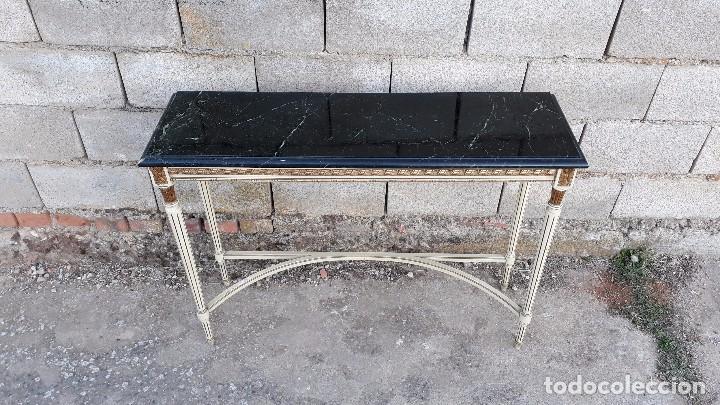 Antigüedades: Consola antigua de mármol estilo Luis XVI, mueble mesa auxiliar antigua estilo francés retro vintage - Foto 9 - 104100627