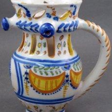 Antigüedades: JARRA BURLADERA CERÁMICA TALAVERA VIRGEN DEL PRADO SERIE PABELLONES J MAYOR SIGLO XIX. Lote 104115535