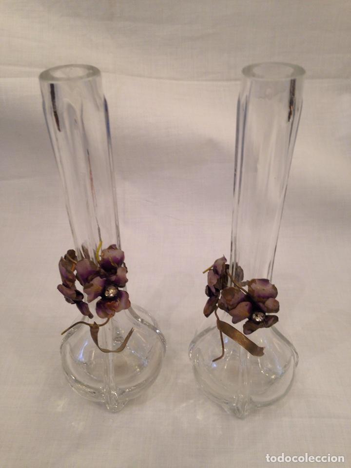 pareja de jarrones de cristal antigedades cristal y vidrio otros - Jarrones De Cristal