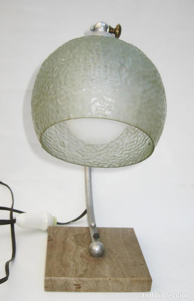 Antigüedades: LAMPARA ANTIGUA ART NOUVEAU MARMOL LATON Y OPALINA CRISTAL CIRCA 1900 - Foto 4 - 104168975