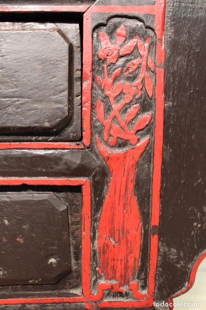 Antigüedades: Antigua consola oriental lacada del siglo XIX - Foto 7 - 104185175