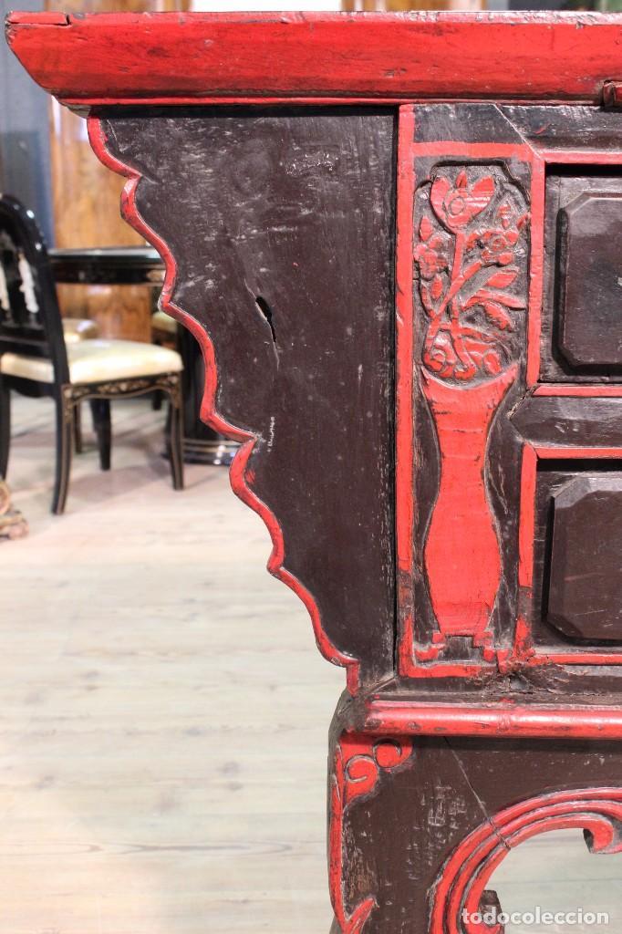 Antigüedades: Antigua consola oriental lacada del siglo XIX - Foto 10 - 104185175