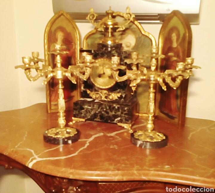 CANDELABROS VICTORIANOS - REALIZADOS EN BRONCE DORADO - FINALES DEL SIGLO XIX - PIE DE MARMOL ITALIA (Antigüedades - Iluminación - Candelabros Antiguos)