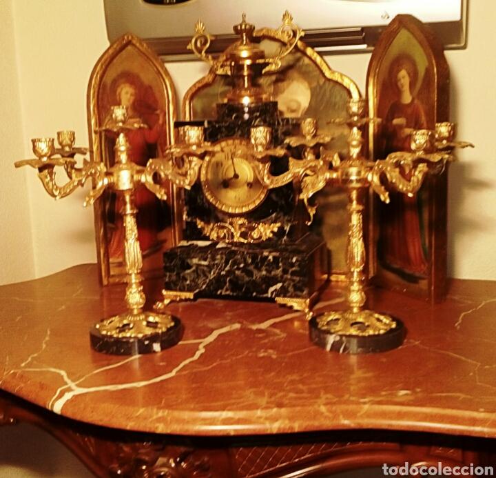 Antigüedades: Candelabros Victorianos - Realizados en bronce dorado - Finales del siglo XIX - Pie de marmol italia - Foto 4 - 104188842