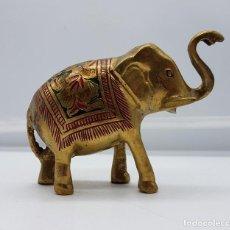 Antigüedades: ELEFANTE ANTIGUO DE BRONCE CINCELADO Y ESMALTADO A MANO, MADHYA PRADESH INDIA .. Lote 104316519