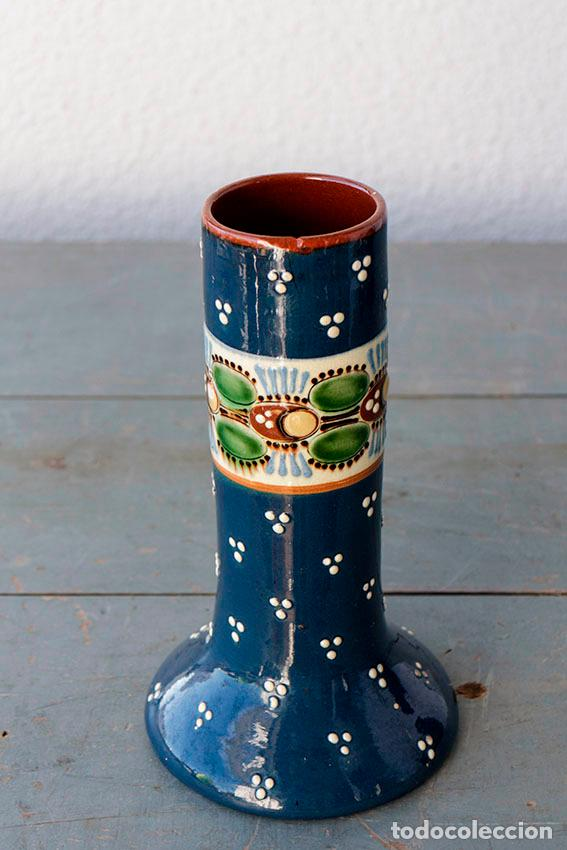 Antigüedades: Jarrón cilíndrico de cerámica con dibujos a mano. Años 30/40 - Foto 2 - 104404431