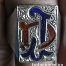 Antigüedades: 17 - ANTIGUA SORTIJA SELLO GRABADO A BURIL J . D . Y ESMALTES DE PLATA DE LEY . Lote 104409219