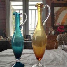 Antigüedades: JARRAS JARRON DE CRISTAL COLOR AMBAR Y VERDE CRISTAL SOPLADO. Lote 104432156