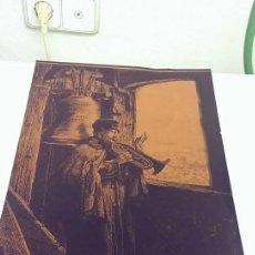 Antigüedades: ANTIGUO GRABADO LITOGRAFIA AL AGUAFUERTE COBRE ORIGINAL MUSICO LILLZ COLECCION TROMPETA CRACOVIA. Lote 104439891