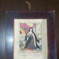 Antigüedades: GRABADO COLOREADO SANTA TERESA DE JESÚS S. XIX MARCO DE MADERA. Lote 104442446