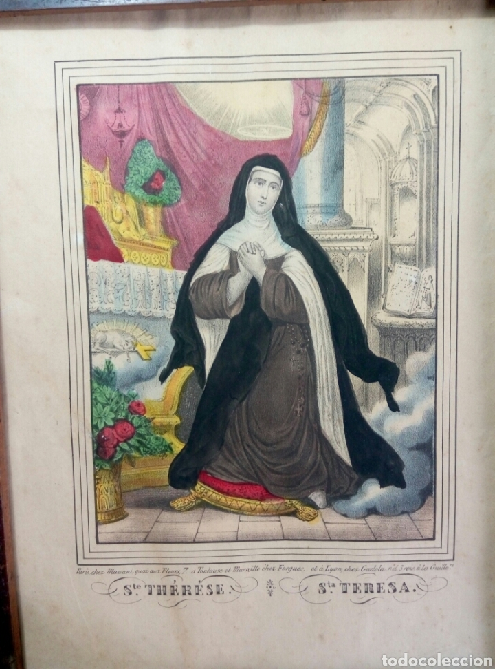 Antigüedades: Grabado coloreado Santa Teresa de Jesús s. XIX marco de madera - Foto 3 - 104442446