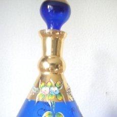 Antigüedades: EXPLENDIA Y ANTIGUA BOTELLA MORANO PINTADA A MANO POLVO ORO 24K. Lote 104476967