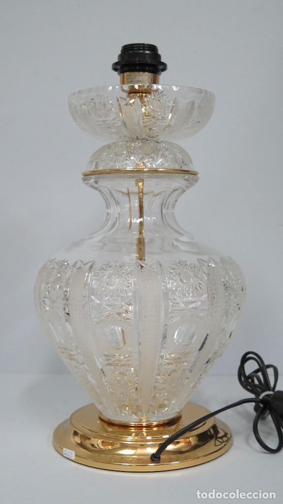 GRAN LAMPARA SOBREMESA DE CRISTAL DE BOHEMIA. BUEN ESTADO (Antigüedades - Iluminación - Lámparas Antiguas)