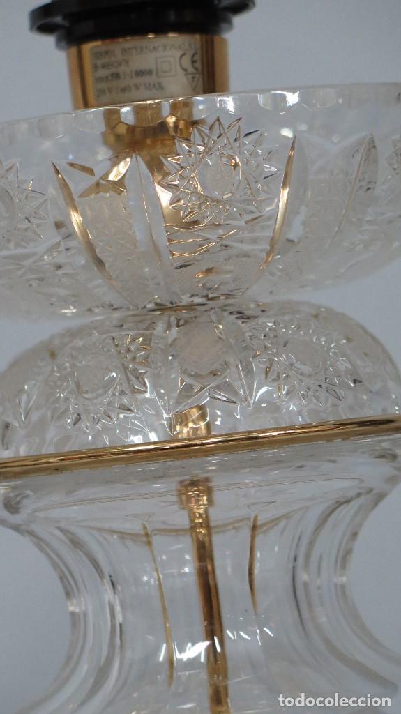 Antigüedades: GRAN LAMPARA SOBREMESA DE CRISTAL DE BOHEMIA. BUEN ESTADO - Foto 8 - 104478627