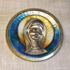 Antigüedades: MEDALLA O MEDALLON DE CUNA DE LA VIRGEN EN PLATA DE LEY Y ESMALTE AL FUEGO. Lote 104518663