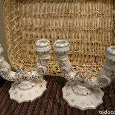 Antigüedades: CANDELABROS DE LOZA ANTIGUOS. Lote 104548876