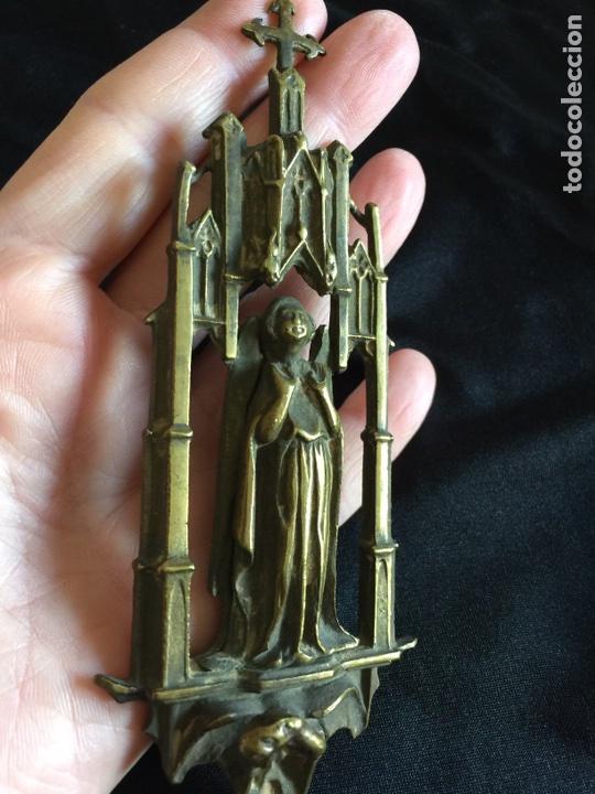 Antigüedades: Maravillosa y rarisima Pieza religiosa en bronce del siglo XVIII - Foto 2 - 104556370