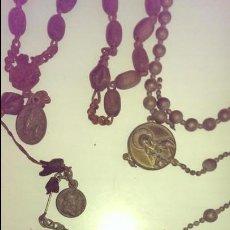 Antigüedades: ANTIGUOS ROSARIOS EN HIERRO CON MEDALLES S XIX. Lote 117286723