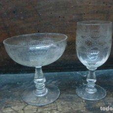 Antigüedades: LOTE DE 2 COPAS DE CRISTAL SANTA LUCIA DE CARTAGENA. Lote 104627663
