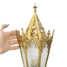 Antigüedades: MARAVILLOSA GRAN LAMPARA DE IGLESIA NEO GOTICA EN BRONCE DORADO RESTAURADA FAROL ALTAR. Lote 104663643